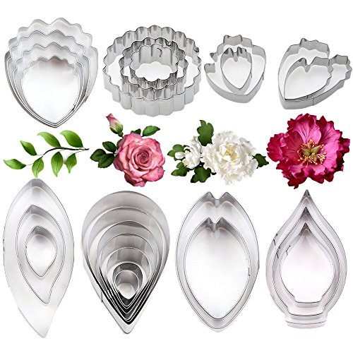 26Pcs Stainless Steel Gum Paste Flower and Leaf Cutter Set Fondant Flower Cookie Cutter Sugarcraft Flower Making Tool for Wedding,Birthday Cake Decorating by Colorkitchenware
