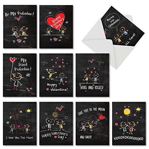 M5655VDB-B1x10 Box Set of 10 'Chalkboard Love' Blank Valentine's Day Greeting Card Featuring Images of Chalk Drawn Stick-Figures on a Blackboard, with Envelopes (Playing Stick Figure)