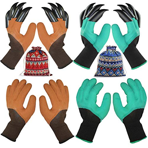 4 Pairs Garden Gloves With Fingertips Claws,Best Gift For Gardener,2 Pairs Working Genie Gloves With Double Claws,2 Pairs without Claws,For Digging and Planting,Breathable. (4 PAIRS BROWN AND GREEN)