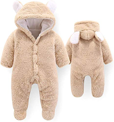 Jawsu Babykleding voor pasgeborenen winter, fleece, overall met capuchon, cartoonbeer, fleece, romper, voetbed, speelpak…