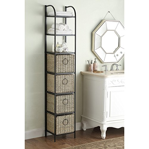 Windsor Black/Brown Metal/Slate/Wicker Bookcase with Baskets by Generic