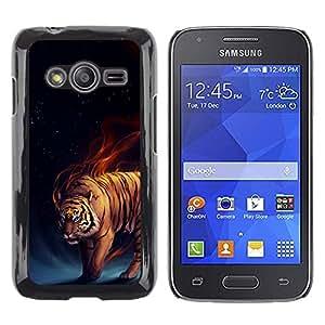 TopCaseStore / la caja del caucho duro de la cubierta de protección de la piel - Tiger Fire Fiery Blue Darkness Black Animal - Samsung Galaxy Ace 4 G313 SM-G313F