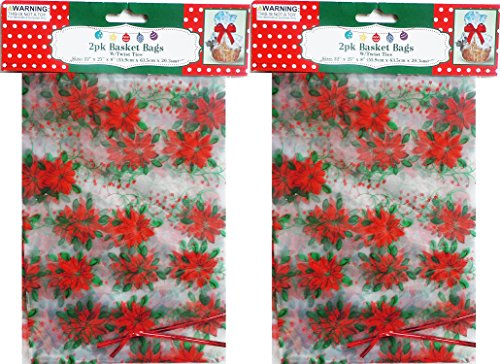 Holiday Poinsettia Basket Bags With Twist Ties 4 Pack