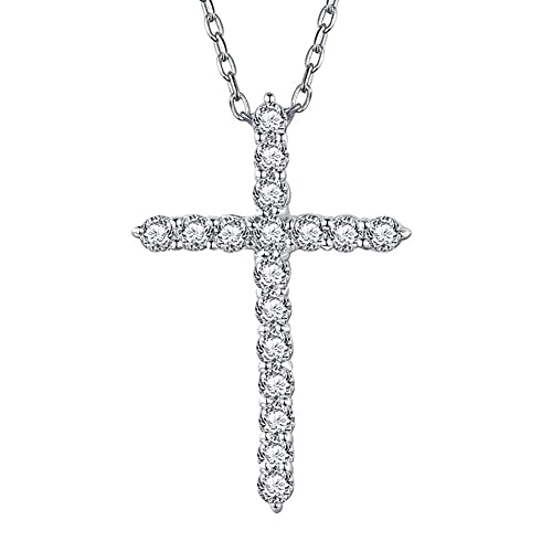 925 Sterling Silver Small Cross Crucifix Cubic Zirconia cz Necklace Pendant