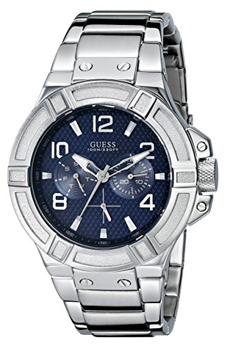 GUESS Men's U0218G2 Rigor Standout Sporty Multi-Function Watch with Blue Dial
