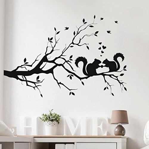 Antique Cut Glass Patterns (Leegor Squirrel On Long Tree Branch Pattern Modern Home Decor Wall Sticker Livingroom Bedroom Decal Vinyl Art Mural Posters)