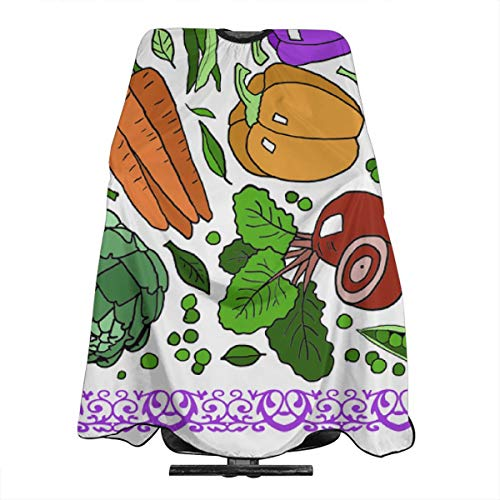 - Haircut Barber Cape Cover Hair Apron,Veggies Tea Towel Hair Salon Cape with Snap Closure for Hair Cutting,Styling and Shampoo 55