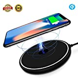 Wireless charger iphone x wireless charger with QI Certifield and blue indicator light 10W Ultra slim fast charging pad for iPhone 8/8 Plus, Samsung Galaxy S9 S9 Plus Note 8 S8