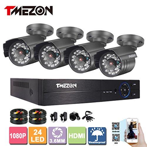 Dvr Security Kit (TMEZON 4Ch 1080P AHD Night Vision CCTV Security Camera System Surveillance DVR Kits 2.0MP AHD Cameras NO HDD)