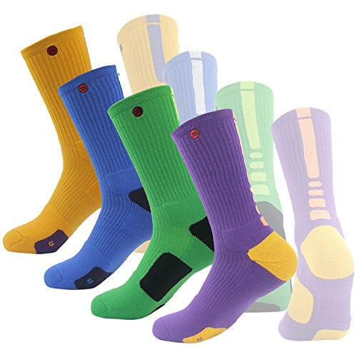 Athletic Soccer Socks, 3street Unisex Youth Thick Cushioned Moisture Wicking Long Mid Calf Basketball Logo Sport Crew Socks Yellow Purple 3 Pairs - Sock All Season Calf Mid