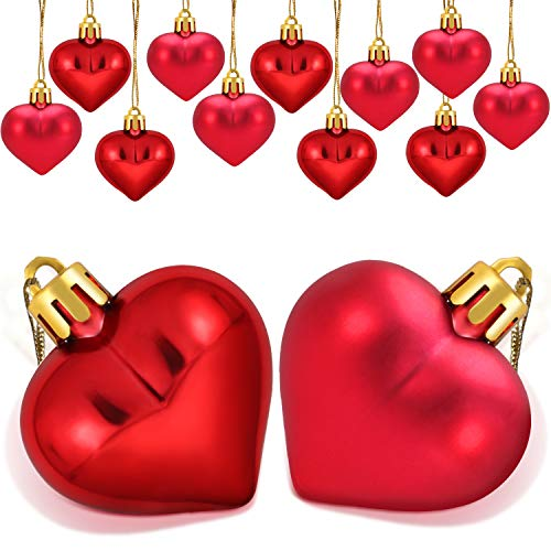 Boao 24 Pieces Heart Shaped Ornaments Valentine's Day Heart Ornament for Valentine's Day Decoration, 2 Styles -
