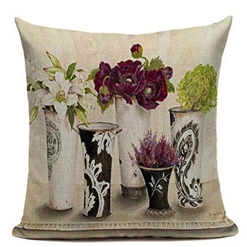 nicolas novila Vintage Flowers Cushions Cover Peach Blossom Home Decor Linen Cotton Pillow Cover Decorative Pink Blue Throw Pillows Pillowcase
