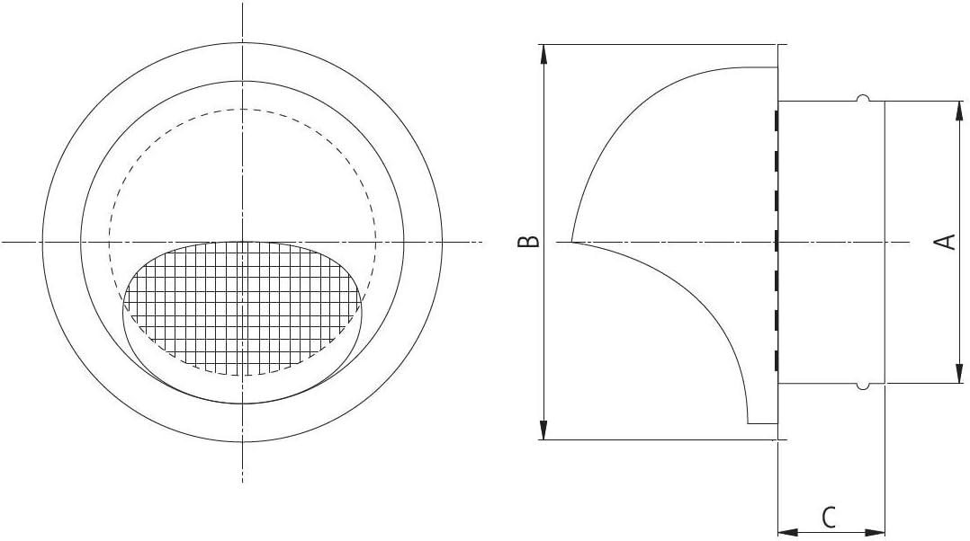 Capot Grille de ventilation d/'/évacuation en acier inoxydable grille de protection m/ét/éo abluft insufflation P799.056/R/ègles /à niveler Tube