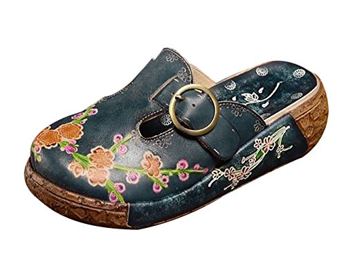 Women's Leather Belt Platform Liveinu Slipper Floral w4YwZ