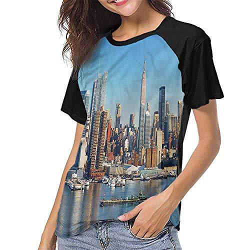 T Shirt Print Girls Tee,New York,Urban City Skyline S-XXL T Shirt Print Short Sleeve
