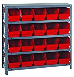 Quantum Storage Systems 1239-202RD Store More Shelf and Bin Unit, 12'' D x 36'' W x 39'' H, Red