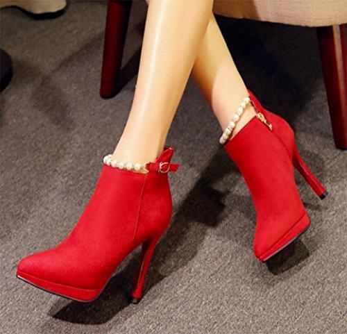 KUKI Herbst Stiefel Reißverschluss High Heels Frauen Stiefel Perle rote Hochzeit Schuhe Brautschuhe billig Frauen Stiefel red