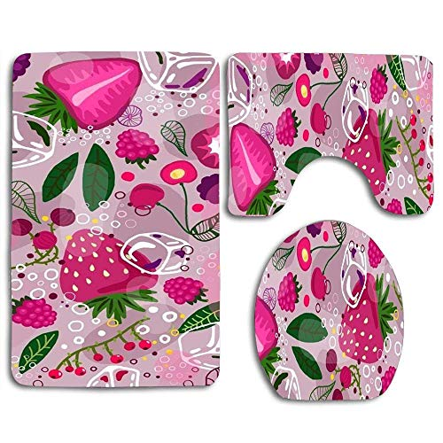 (DING A Very Luscious Berry Soft Comfort Flannel Bathroom Mats Non-Slip Absorbent Toilet Seat Cover Bath Mat Lid Cover,3pcs/Set Rugs)
