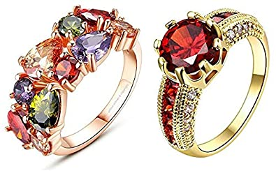 MLTI-COLOURED CRYSTAL RINGS FOR GIRLS WOMEN