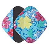 DEESEE(TM) Reusable Bamboo Cloth Washable Menstrual Pad Mama Sanitary Towel Pad (S, Sky blue)