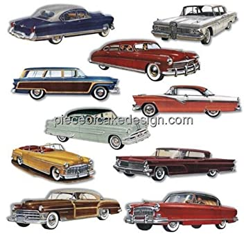 18 1950s Classic Cars Birthday Edible CakeCupcake Topper