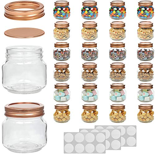 WILLDAN Set of 24-8OZ Mason Jars With Regular Lids Rose Gold Edition - Ideal for Body Scrubs, Lotions, Jam, Honey, Wedding Favors, Shower Favors, Baby Foods, 30 Whiteboard Labels Included ()
