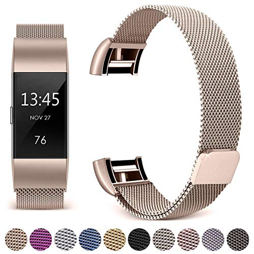 Galvanized Steel Straps - Hotodeal Compatible Fitbit Charge 2 Bands, Band Milanese Loop Stainless Steel Magnet Metal Replacement Bracelet Strap, Wristbands Accessories for Women Men, Champagne