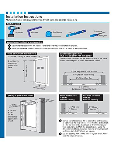 F2 16X 16 Access Panel with 1//2 Drywall Inlay