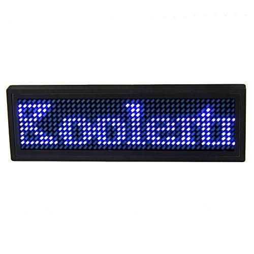 Koolertron Programmable LED Digital Scrolling Message Name Tag Id Badge(12x48 Pixels) (Blue)