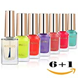 Emosa Nail Polish Set - 100% Non-Toxic Water-based Peelable Full Size Lacquer Lot of 7 Pcs (6 Pcs 10ml Colors+1Pcs 15ml Base/Top Coat) for Girls