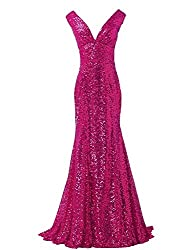 Sequin Mermaid V-Neck Dress