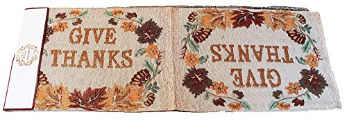 Twisted Anchor Trading Co Give Thanks Block Letters Fall Table Runner Thanksgiving Table Runner Tapestry Style Autumn Home Decor 72 in x 13 in ()