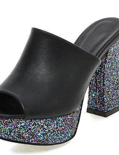 LFNLYX Zapatos de mujer-Tacón Robusto-Tacones / Punta Abierta / Plataforma / Talón Descubierto / Zapatillas-Sandalias-Vestido / Casual / Fiesta Black