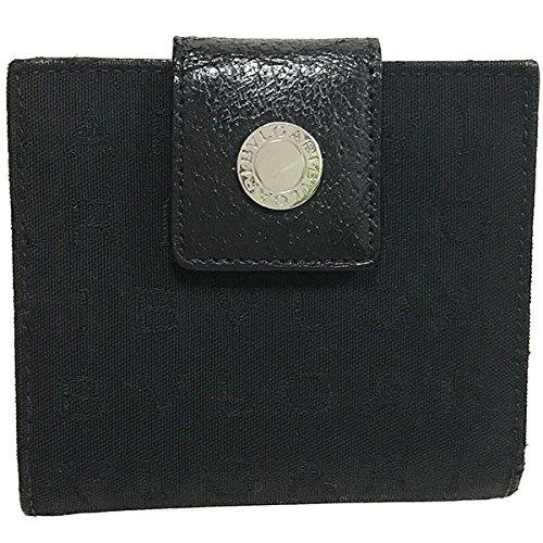 01310451cb7b BVLGARI(ブルガリ) 財布 ロゴマニア レッタレ コンパクトウォレット キャンバス レザー ブラック 黒 22250 BVLGARI