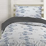 Twin Rocket Ship Duvet Cover Set with 1 Pillowcase for Kids Bedding - Double Brushed Microfiber by Where The Polka Dots Roam (68' L X 86' W)