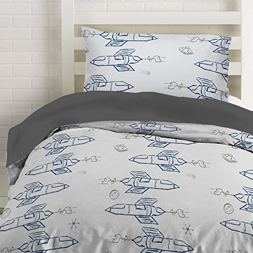 (Twin Rocket Ship Duvet Cover Set with 1 Pillowcase for Kids Bedding - Double Brushed Microfiber by Where The Polka Dots Roam (68