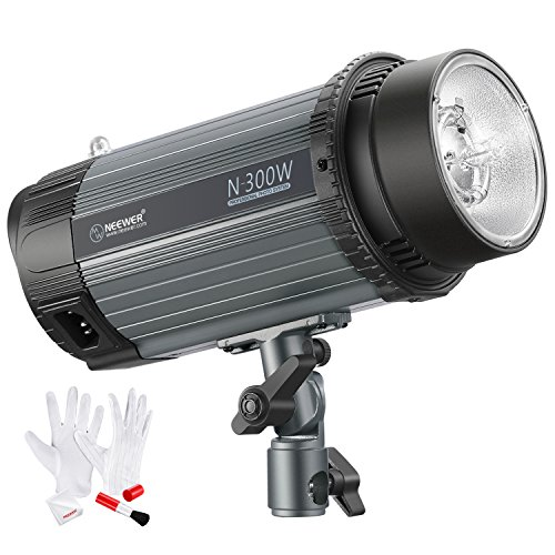 Neewer 300W 5600K Photo Studio Strobe Flash Light Monolight with Modeling Lamp and 3-IN-1 Cleaning Kit, Aluminium Alloy Construction, for Indoor Studio Location Model and Portrait Photography (N-300W) (Camera Lighting Kit Strobe)