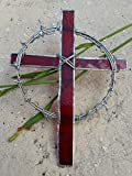 Handmade Stained Glass Crown of Thorns Cross Red Suncatcher Window Spirit Ornament