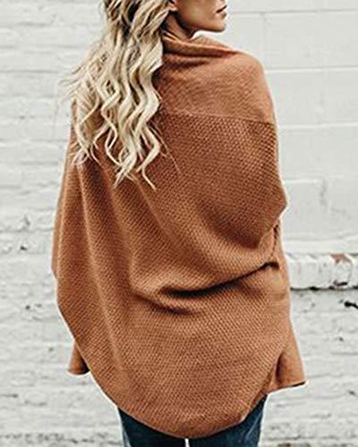 Cardigan Manche Pull Moyenne Femme Grande Taille Chandail Kaki Tricots de Longueur Chauve Souris OwwPqxBAFZ