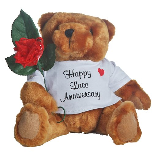 Happy 13th Wedding Anniversary Teddy Bear with Lace Rose Gift