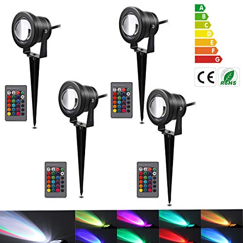 Ourleeme Lawn Flood Light Stake, RGB Landscape Light with Remote,10W Color Changing LED Landscape Light,Outdoor Multicolor Spot Lights for Garden,Pation,Porch,12V Low Voltage Spotlight(10W-4Pc)