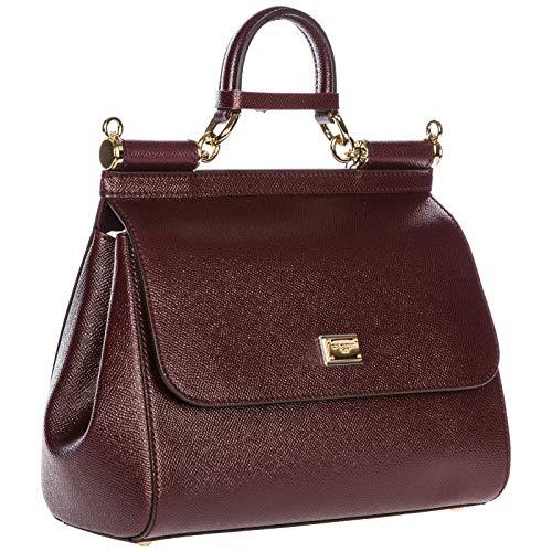 femme main cuir en sac bordeaux Dolce amp; à sicily Gabbana wTqf4P