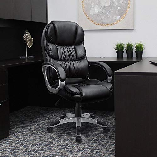 KERMS High Back Office Chair PU Leather Executive Desk Chair with Padded Armrests,Adjustable Ergonomic Swivel Task Chair with Lumbar Support(Black)
