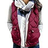 Lightweight Quilted Padded Vest Womens Sleeveless Pockets Waistcoat Solid Cotton Hooded Winter Loose Coat Jackets ANJUNIE(Red,M)