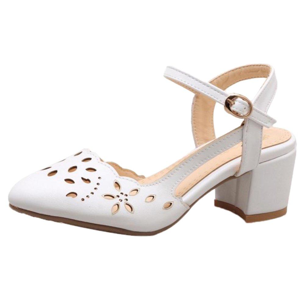 Zanpa Women Elegant Blockabsatz Sandalen Schuhe Cut Out White Size 32 Asian 6R8aQUcv