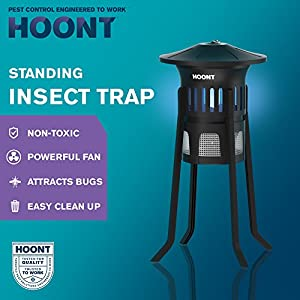 Mosquito Killer and Gnat Fly Trap Killer by Hoont, Indoor Outdoor Mosquito Trap Control with Stand - Bright UV Light and Fan / Exterminate Mosquitoes, Wasps, Etc. – Perfect for Patio, Gardens, etc.