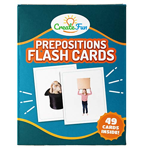 CreateFun Preposition Flash Cards | 49 Educational Photo Cards | with 5 Learning Games | for Teachers, Parents, Speech Therapy Materials and ESL Teaching Materials | 7 Total Prepositions ()
