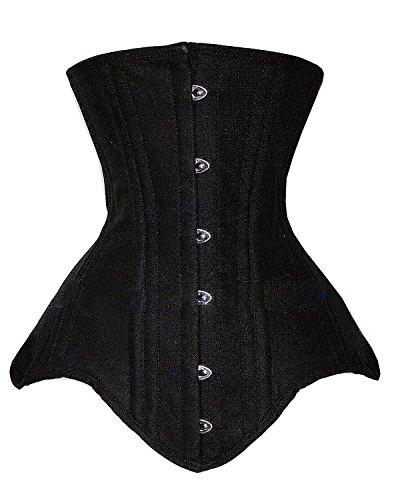 Camellias Women's Double Steel Boned Body Shaper Long Line Underbust Waist Training Corset, (Black Genie Costume)