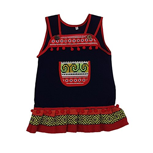 ARTIIDCO Beautiful Woven Cotton Ethnic Thai Girl Dress with Hand Embroidered Details 3 to 4 Year ()