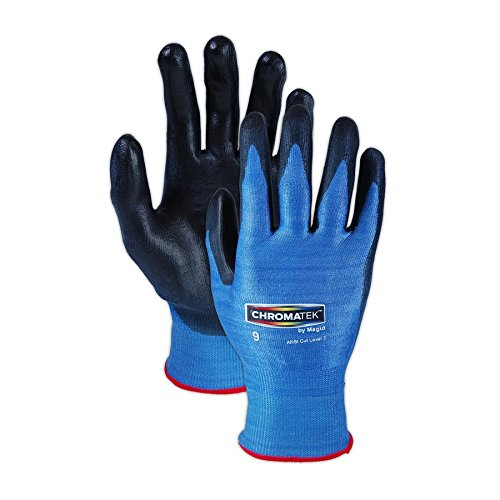 Magid Glove & Safety CT500-BL-11 Magid ChromaTek CT500 Multi-Colored HPPE Blend PU Palm Coated Gloves - Cut Level 2, Small, Blue, 11 (Pack of 12) by Magid Glove & Safety (Image #2)
